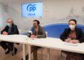 Juan Juncal, José Manuel Rey y Verónica Casal comparecieron esta mañana en la sede del PP de Ferrol