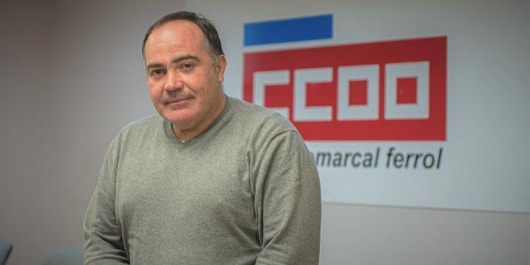 Vïctor Ledo en la sede de CC.OO. de Ferrolterra