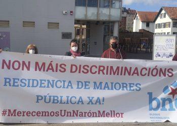 La concentración de esta mañana en la Plaza de Galicia por parte del BNG
