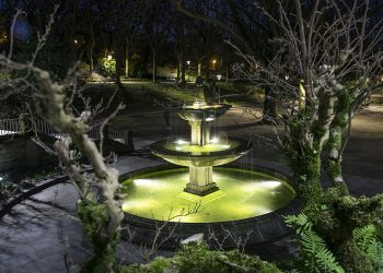 Fuente del Paseo Central de la Alameda recién iluminada. | CONCELLO DE SANTIAGO