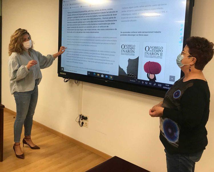 La alcaldesa, Marián Ferreiro, y la edil de Educación, Mercedes Taibo, fueron las encargadas de presentar el nuevo portal web