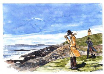 Ilustración do científico Alexander  von  Humboldt nas costas de Ferrolterra realizada por Roberto Hernández