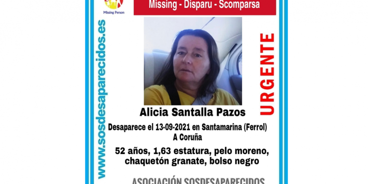 Cartel sobre la desaparición de Alicia Santalla   SOS DESAPARECIDOS