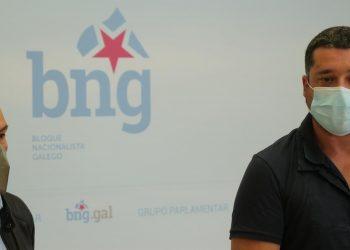 El diputado del BNG en el Congreso, Néstor Rego, junto al diputado en el Parlamento gallego Ramón Fernández. - BNG