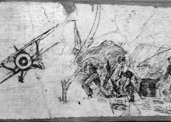 Escenas de guerra debuxadas polos prisioneiros nas paredes do Mosteiro de Oia