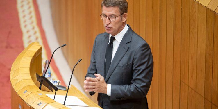 Alberto Núñez Feijoo durante el Debate sobre el Estado de la Autonomía, en el Pazo do Hórreo